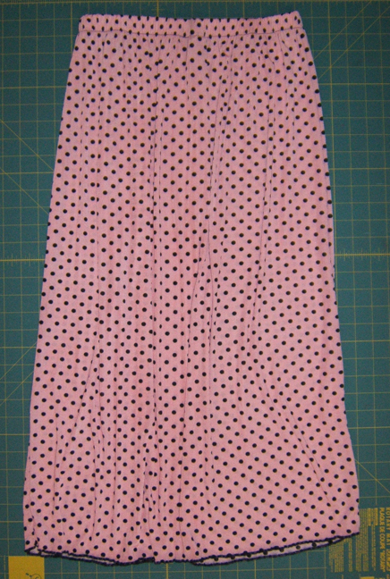 Pink polka dot skirt before
