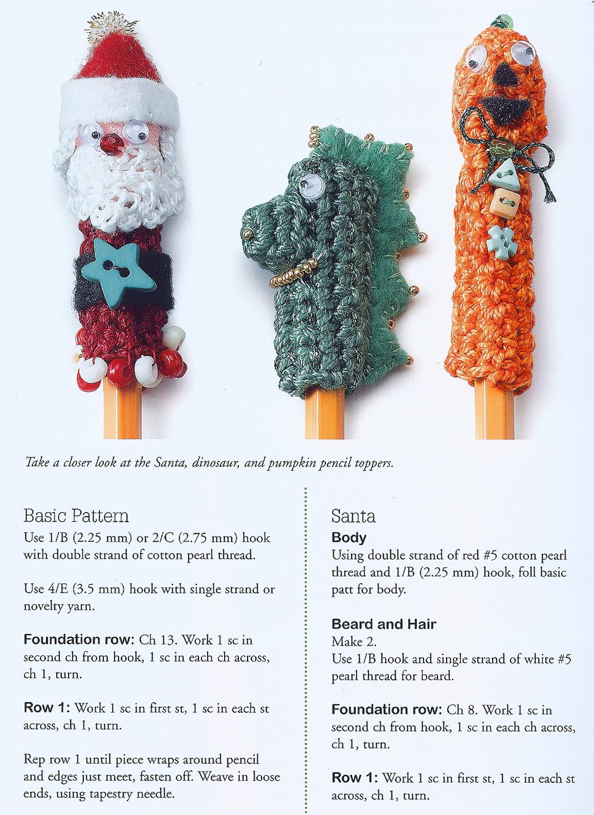 Craftside: Free Crochet Santa Pencil topper pattern from Crochet Kid ...