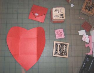Valentine folded stamped
