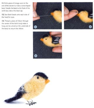 How to needle felt a bird 3