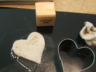 Actual size stamp silver heart