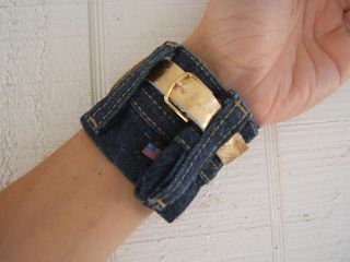 Denim and gold ralph lauren cuff