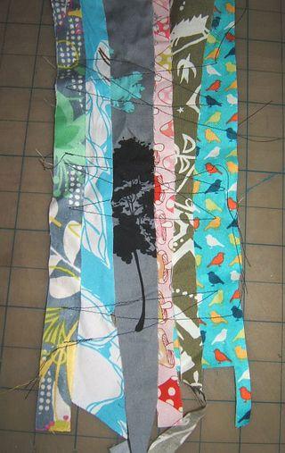 Crazy stitch fabric scarf