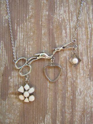 Stork scissor necklace blue moon beads