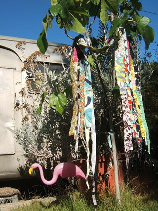 Fabric stitched scarf flamingo