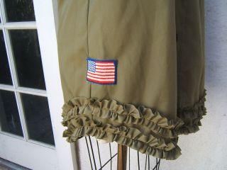 Closeup of ruffle on bottom dress