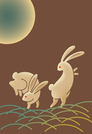 Japanese bunnies and moon art