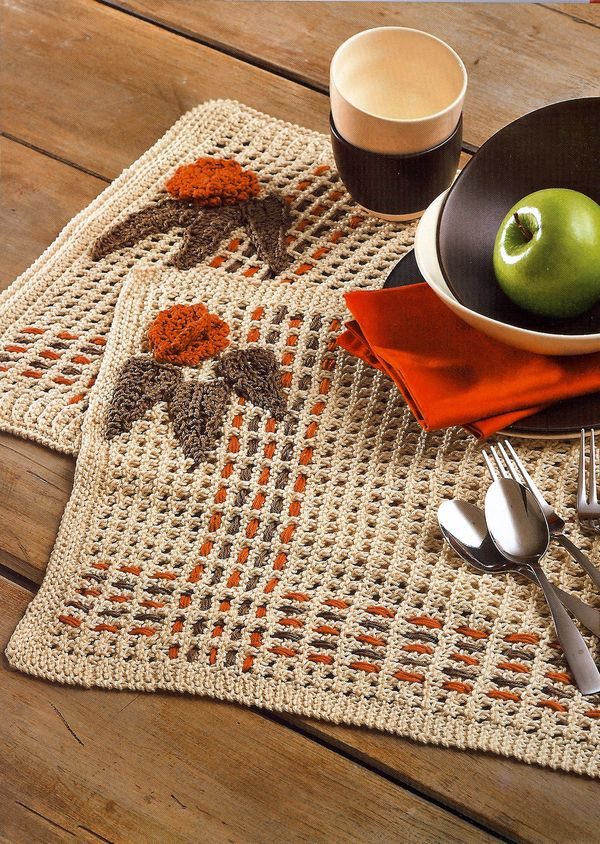 Craftside Plaid Knit And Woven Placemat Pattern From The Book Knit