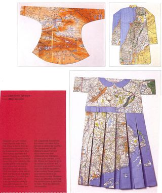 Dresses folded out of maps