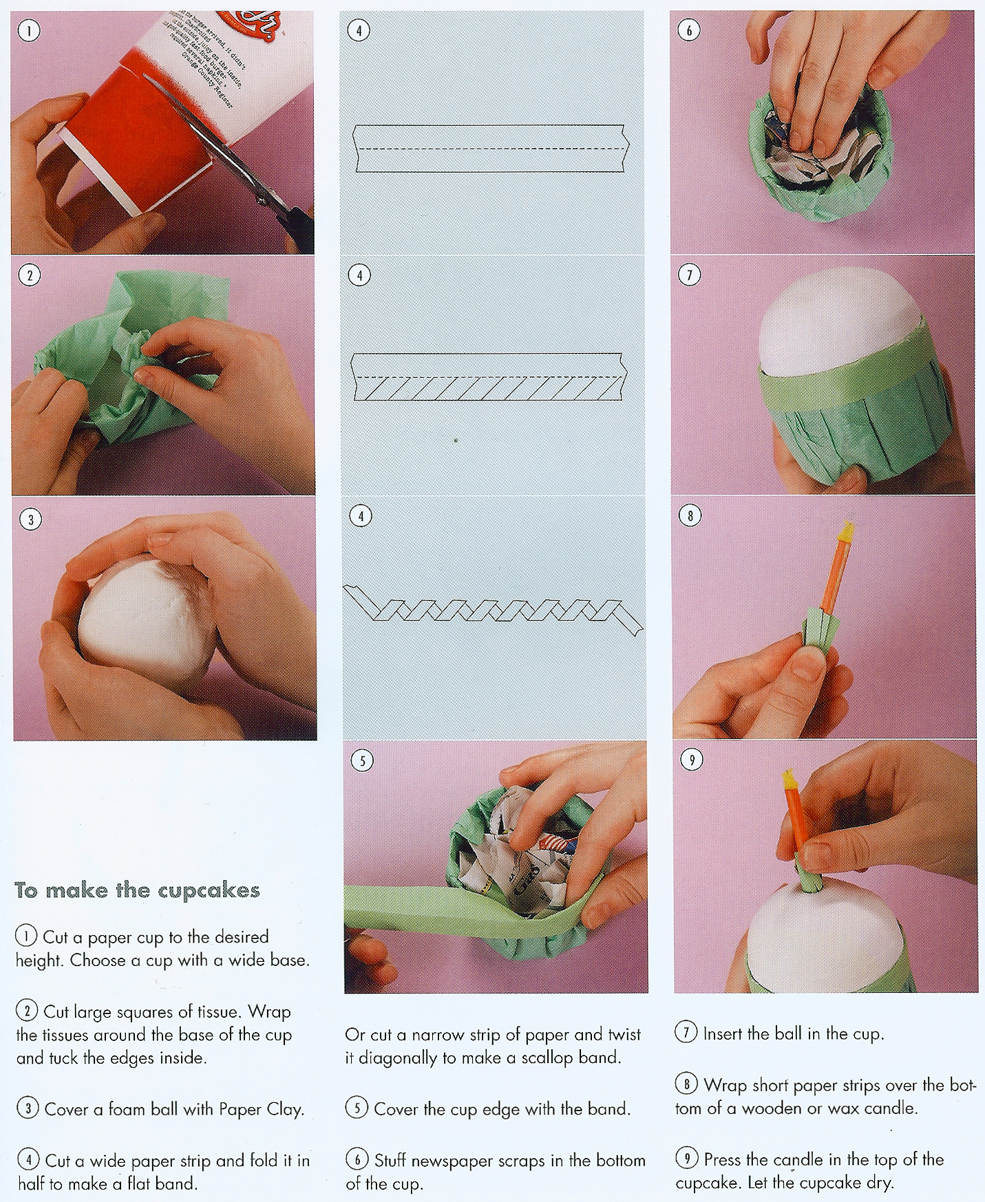 Craftside how to make a cupcake with paper and a recycled cup how to make recycled cupcak jeuxipadfo Gallery