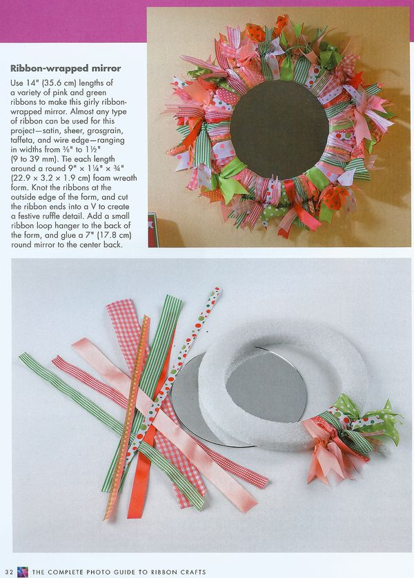 Craftside How To Make A Ribbon Wrapped Mirror Or Wreath From The