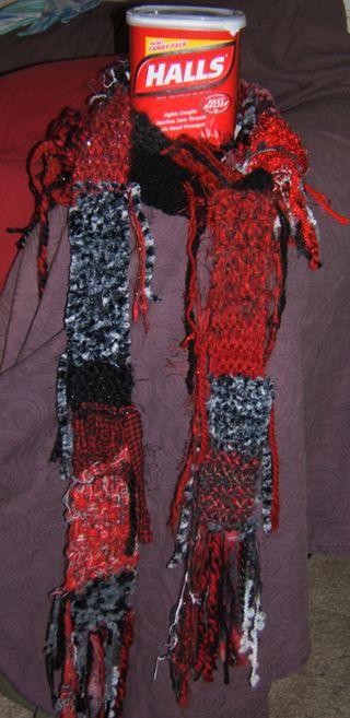 Red black scarf halls