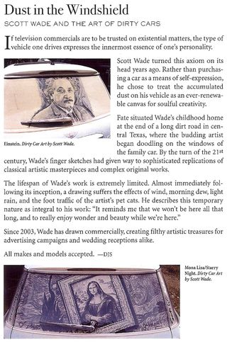 Art in the dust on a car
