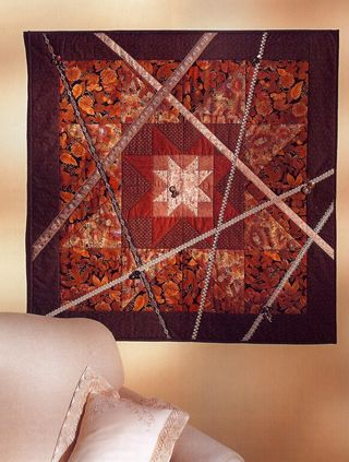 Quilt decorated with ribbons