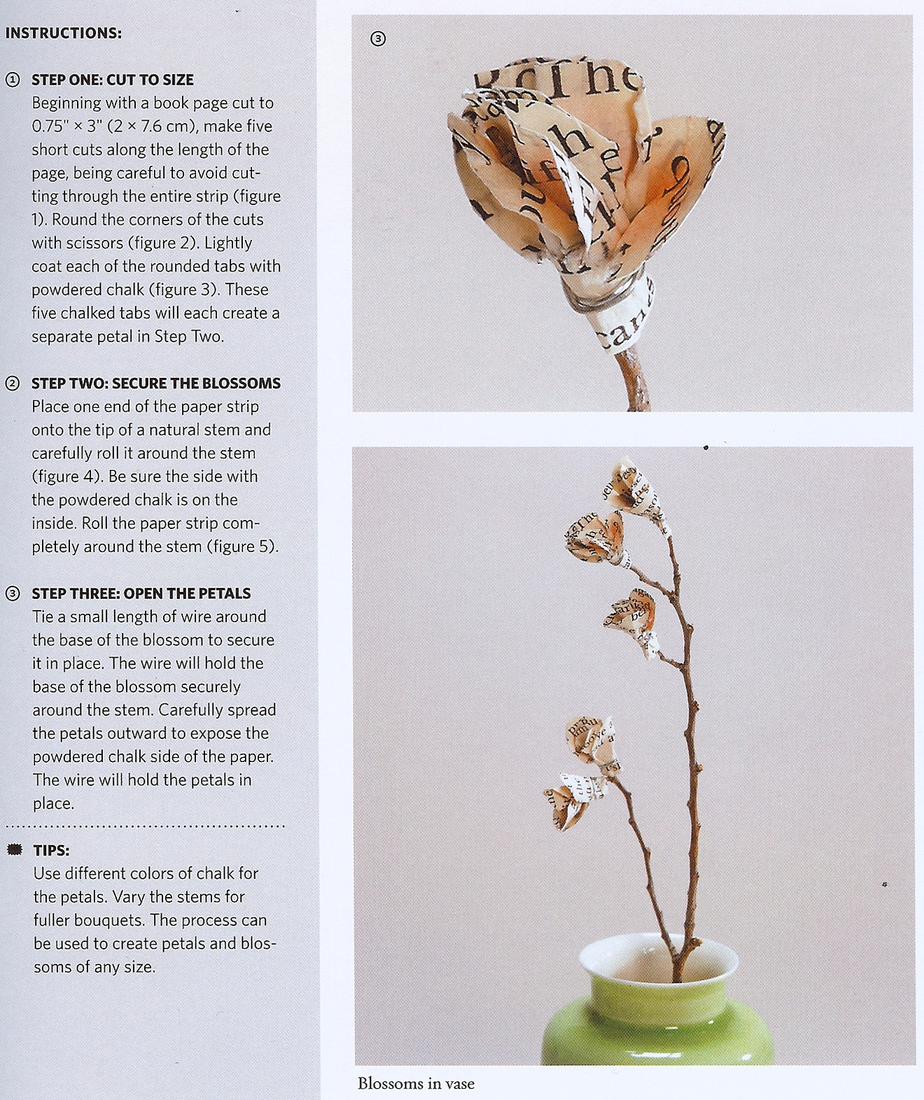Craftside How To Make Recycled Book Page Flowers From The New Book