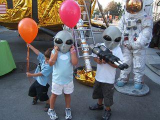 Kids with alian masks