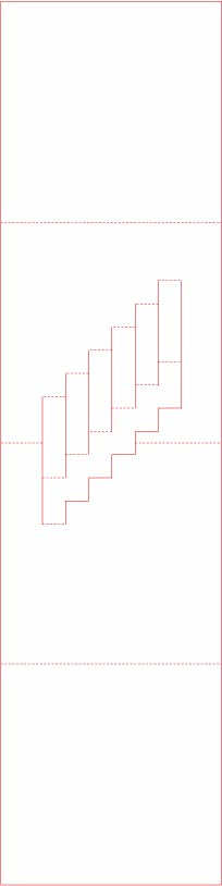 Pop-up staircase card template pattern