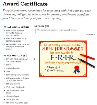 How to make a calligraphy award