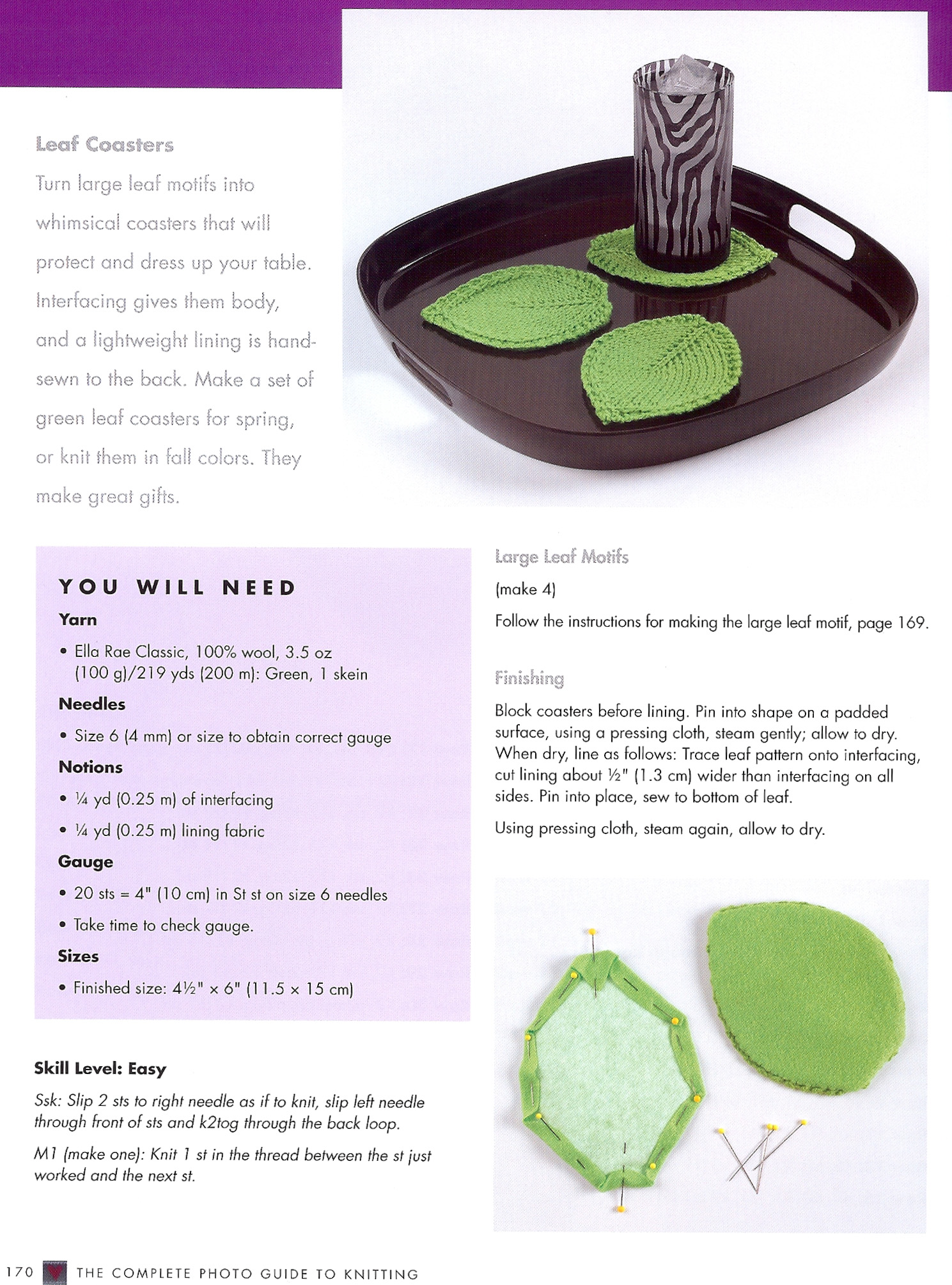Craftside: Knit leaf coaster pattern from the book The Complete ...