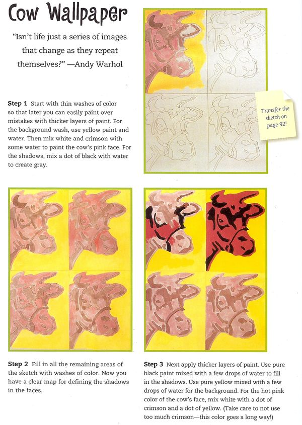 Craftside How To Paint Pop Art Cows From The Book You Can