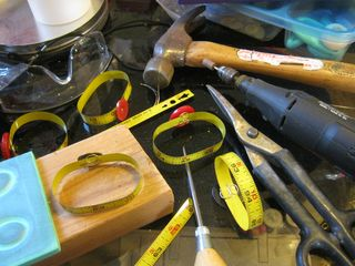 Button and tape measure bracelet tutorial