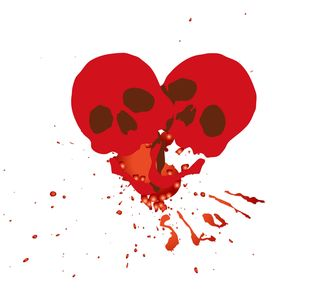 Valentine heart made two skulls