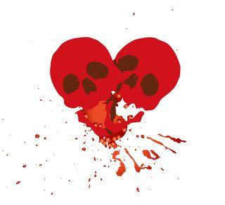 Valentine heart made two skulls
