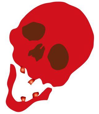 Red skull image clip art make heart