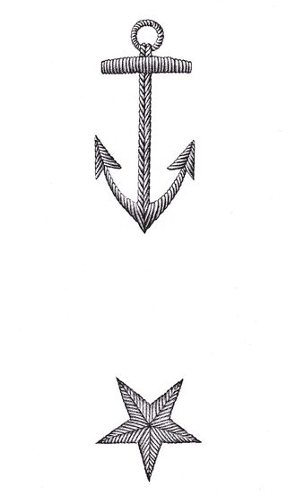 Free star anchor stitch pattern clip art