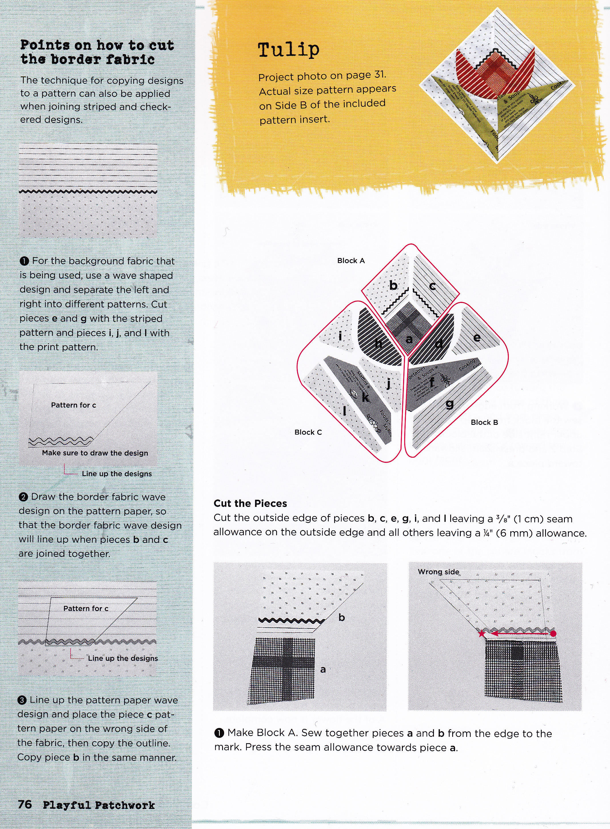 Craftside Tulip Quilt Block Pattern From The New Book Playful