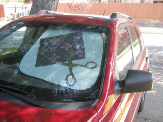 Scissor fabric mod podge car shade