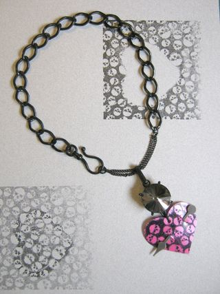 Recycled plastic bottle heart necklace