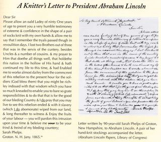 Knitters letter to president lincoln