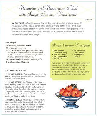 Nectarine nasturtium salad vinaigrette