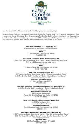 Crochet dude boot camp schedule