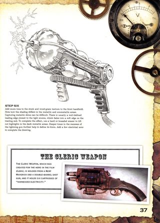 How to draw Steampun gun cleric weapon