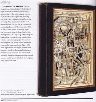 Altered book art Typographic Excavation
