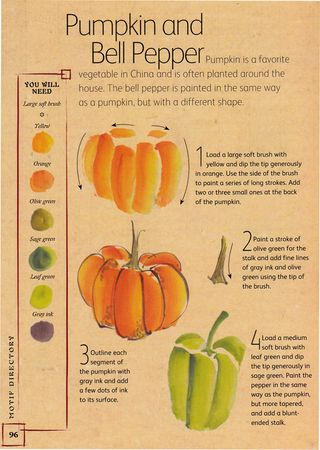 How to chines brush painting pumpkin pepper