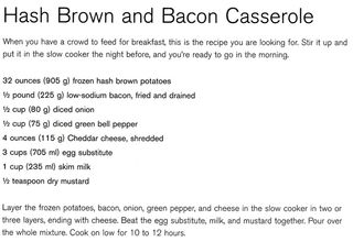 Recipe for Hash brown and bacon casserole