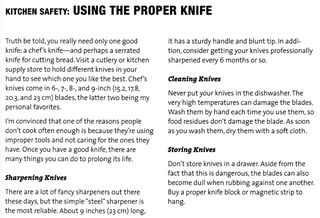 Kitchen safety using the proper knife