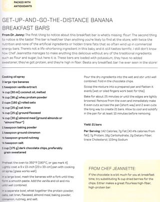 Flourless banana breakfast bar recipe