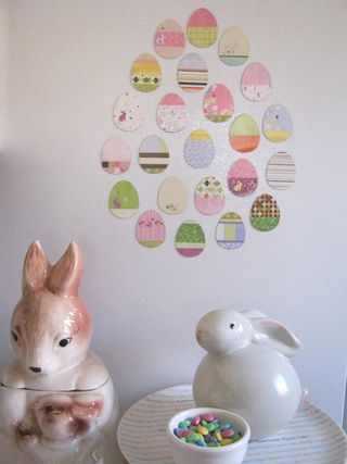 Recycled paper easter egg magnets