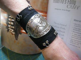 Gun metal recycled leather cuff