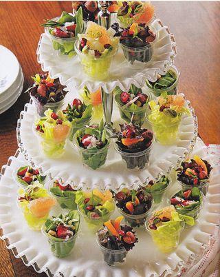 Serve salad in mini individual cups display