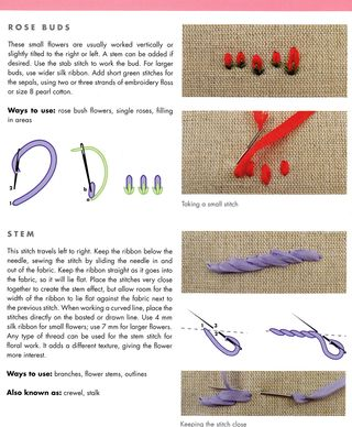 How to embroider ribibbon rose buds