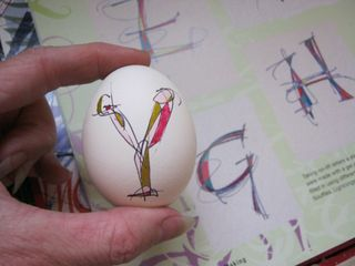 Colored lettering on eggs