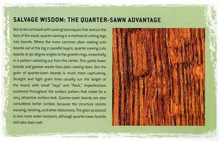 What is quarter-sawn wood advantages
