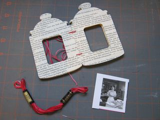 Recycled book page die cut book window