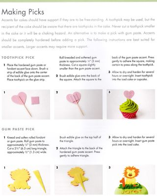 How to make gum paste fondant cupcake picks