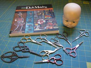 Mixed media doll head scissor holder hair